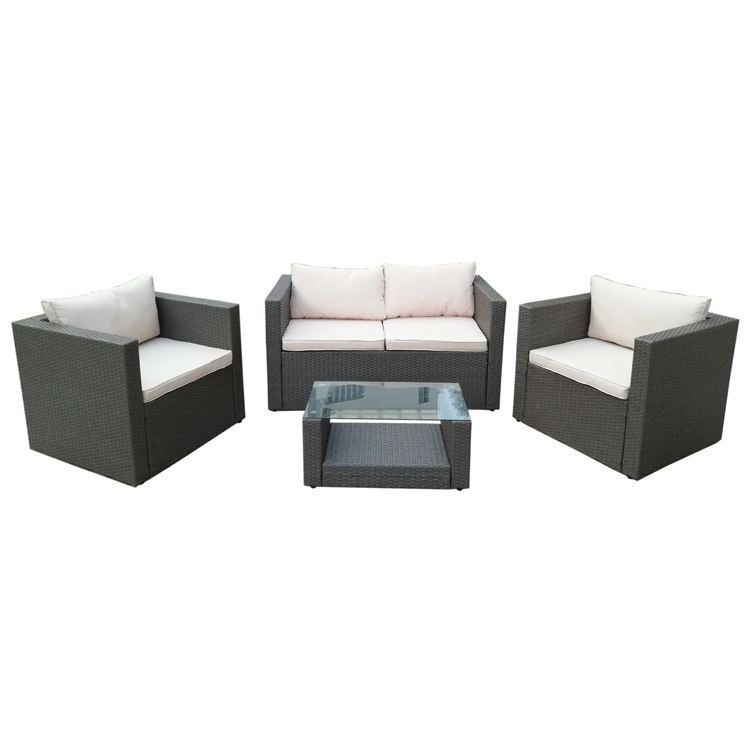 Outdoor Garden Patio 4PC Cushion Conversation Metal Rattan Furniture Set