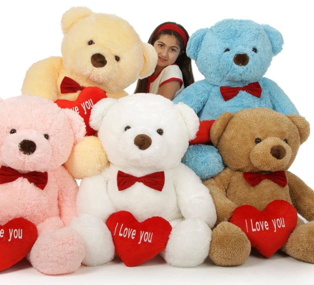promotional soft kids toys happy plush stuffed teddy bear with heart/Valentine's Day Popular Teddy Bear with Heart