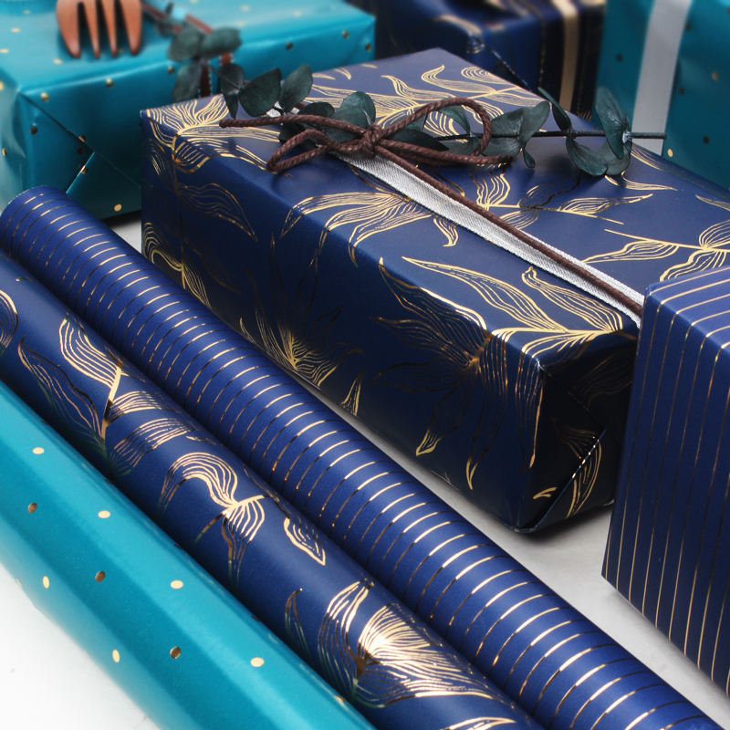 Blue metallic foil printed stripe gift wrapping paper