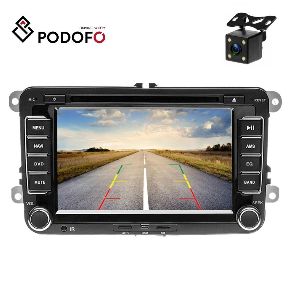 Podofo Car Multimedia player 2 Din GPS Car DVD Radio For VW/Volkswagen/Golf/Polo/TIGUAN/PASSAT/b7/b6/SEAT/SHARAN Support Camera