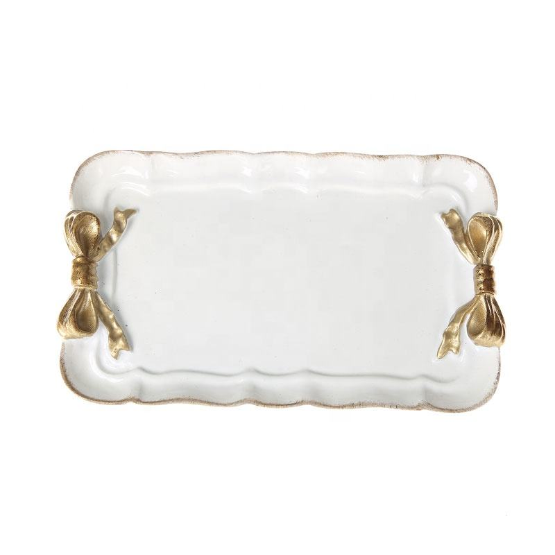 European and Retro Style of Resin Tray for Storage and Home Decoration