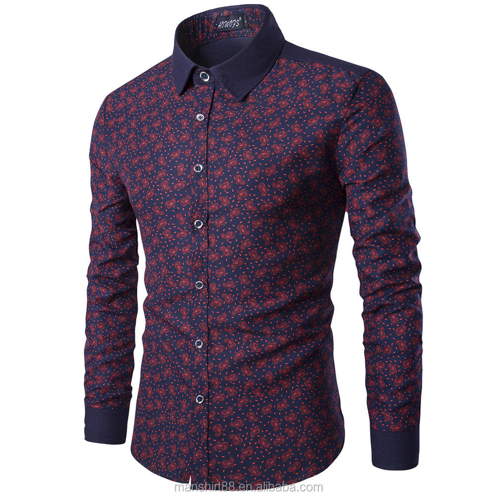 Latest Design Contrast Collar And Cuff Paisley Cotton Dress Shirt For Men