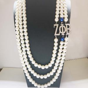 Griekse letters Sorority ZPB Multi layer Lange 12 MM Big size Pearl Ketting Accessoires ZOB ZETA PHI BETA Parel Ketting