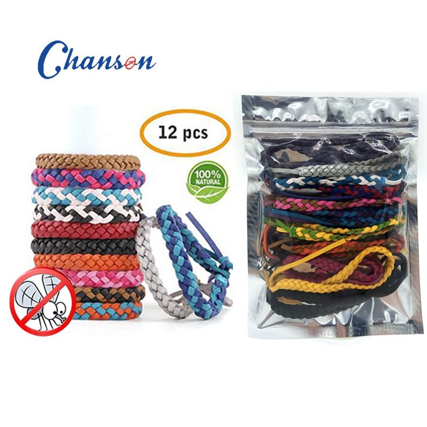 12 pack mosquito repellent bracelet leather products men wrist strap for outdoor activity