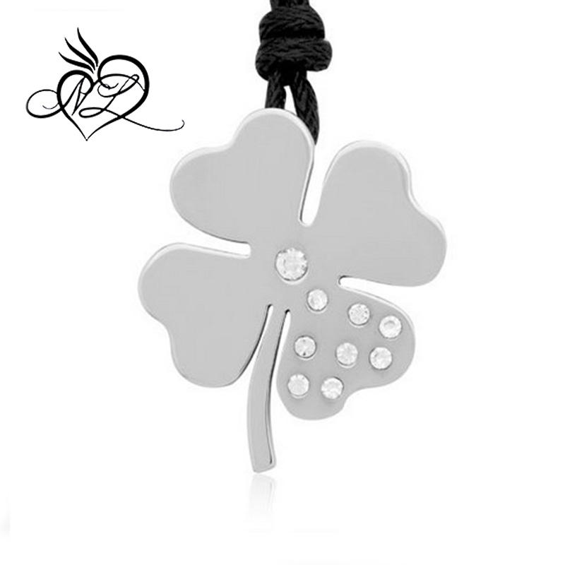 Irish Lucky Shamrock/Love Heart Invisible Bail w/ CZ Stainless Steel Pendant Necklace