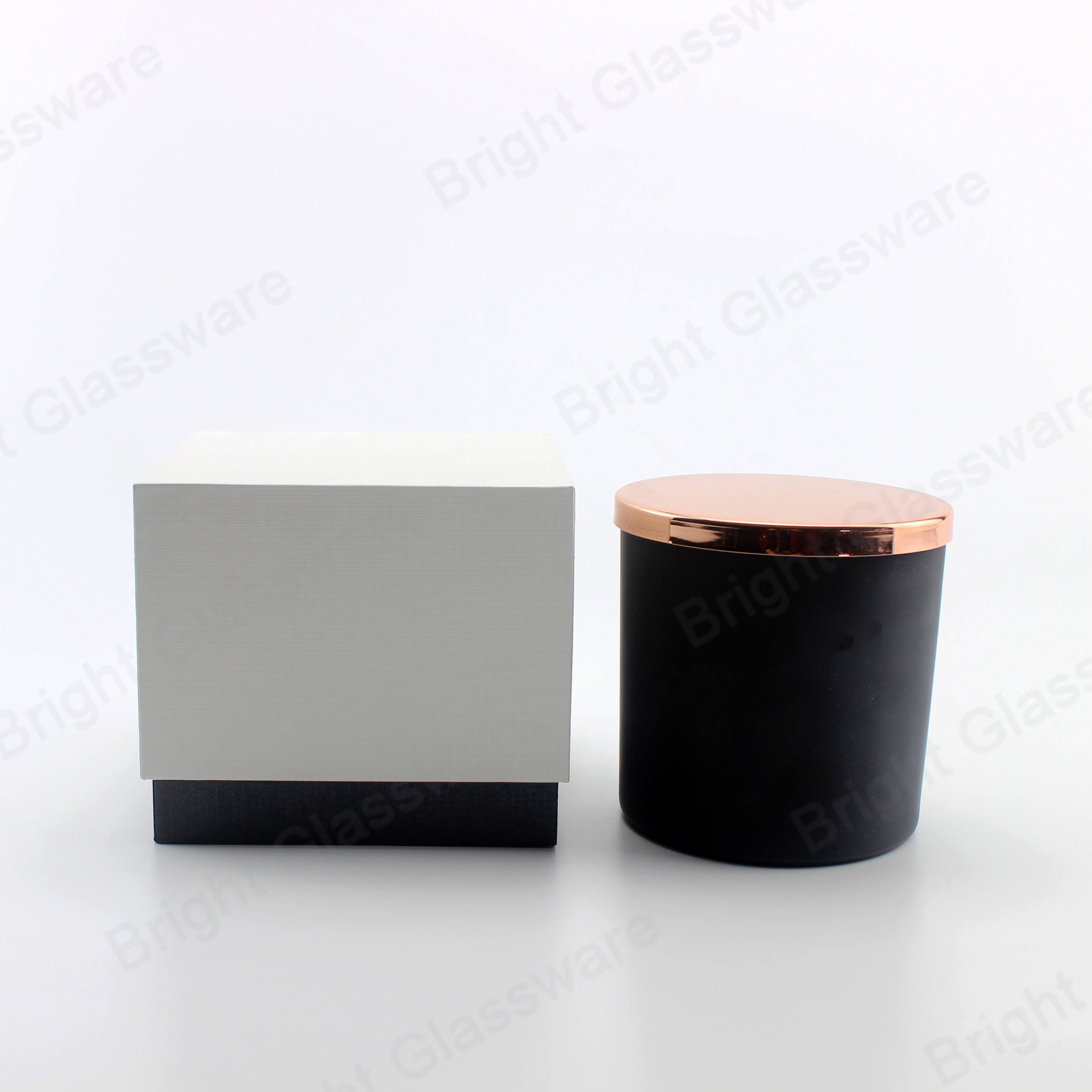 Customized luxury empty matte black glass candle jar with rose gold metal lid and gift box