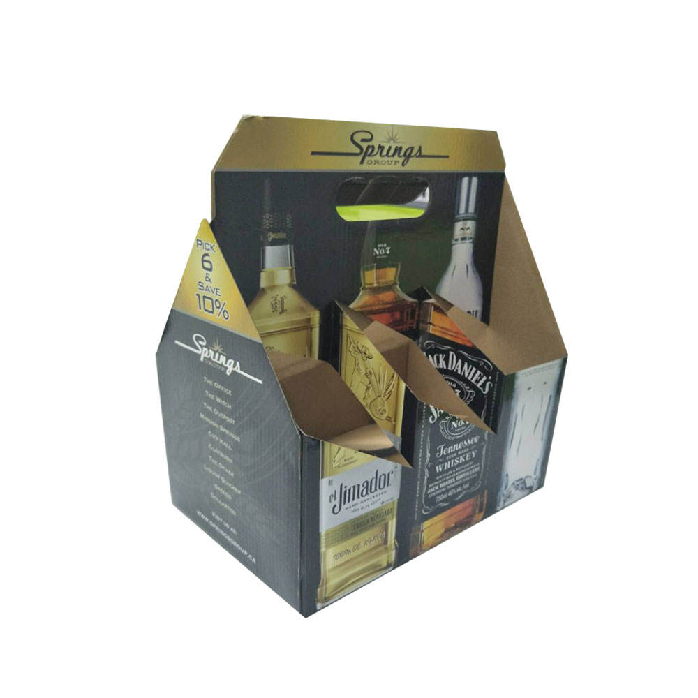 Box With Print Custom Printed Paper Cardboard Beer Pack Box Corrugated Packaging Box Carrier 3 6 12 24 Bottle Paper Wine Box With Handle