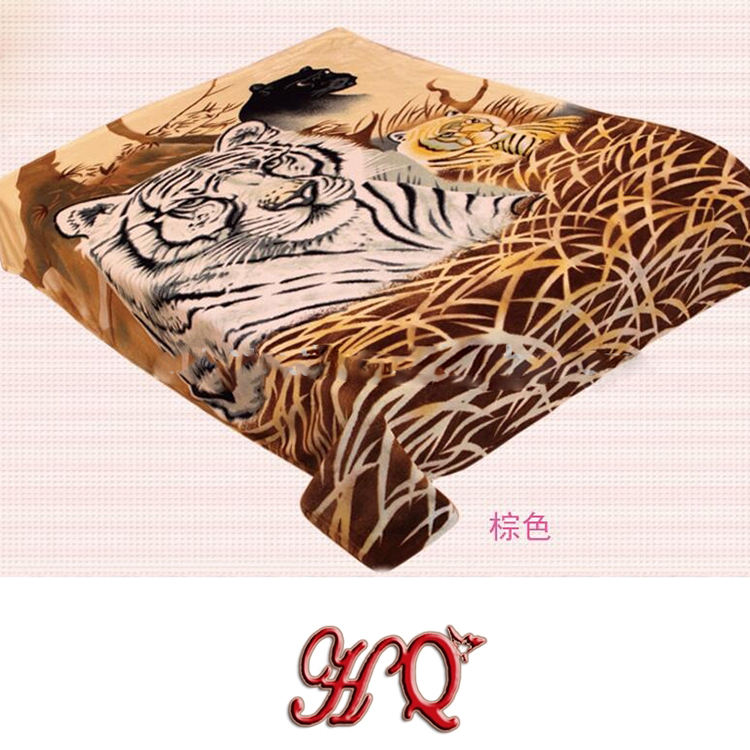 hot sale wholesale wild Animal fleece raschel wolf tiger eagle Printed Mink Blanket