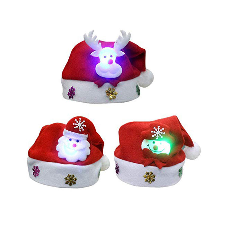 Artdragon Christmas decoration new year navidad sombreros led light up felt children christmas hat santa claus hat with light
