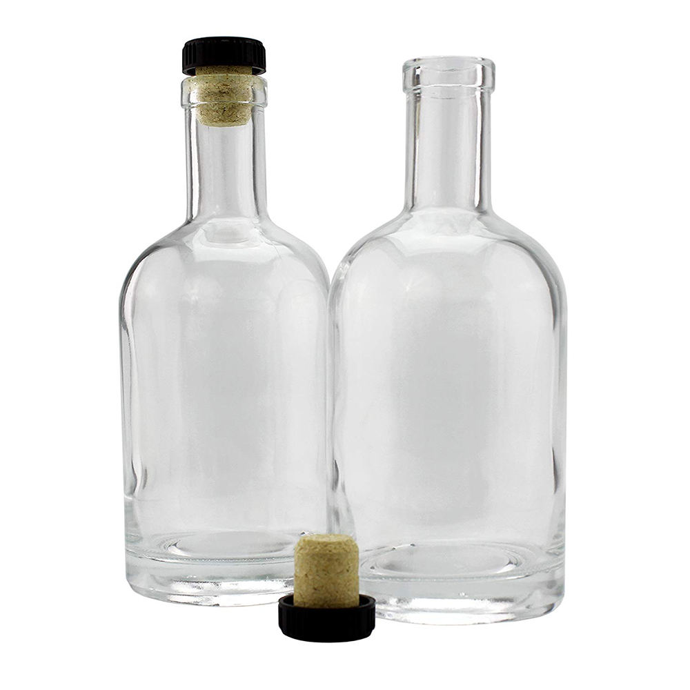 250ml 375ml 500ml 750ml 1000ml Vodka Spirit Glass Bottle for Liquor with cork