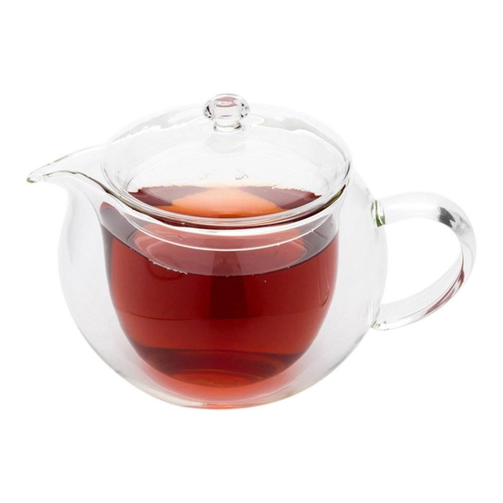 borosilicate handblown double wall glass teapot