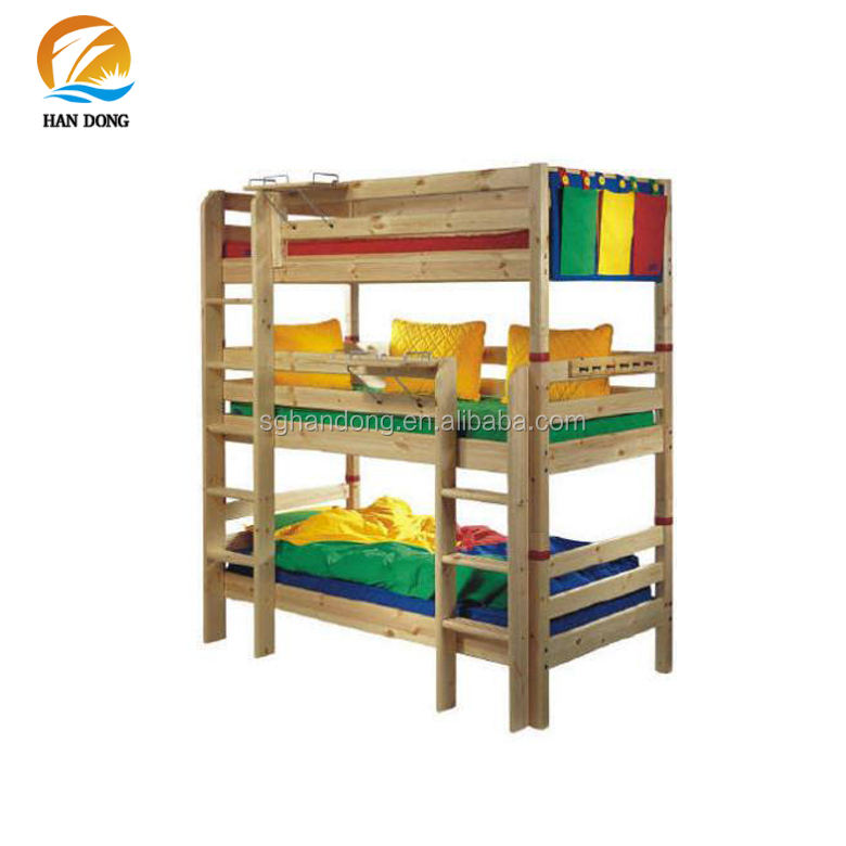 Rustic tall wood three floor beds 3 in 1 bunk beds