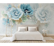 house decoration 3d wallpaper embossed flowers wall stickers  blue fresh TV background vinyl wall mural