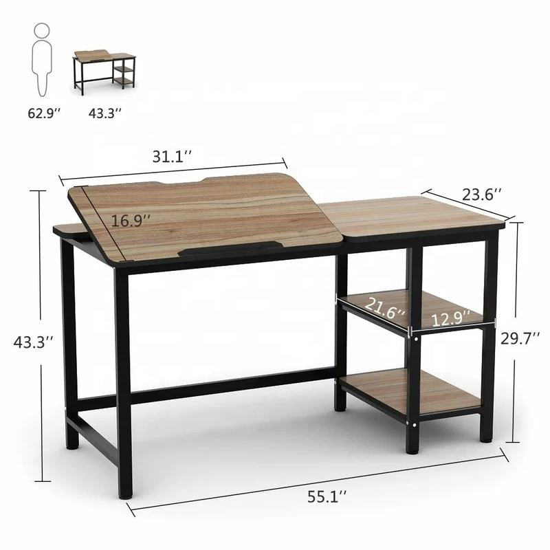 Multi-Function Adjustable Computer Desk with Drawing Desk Peace Drafting Table