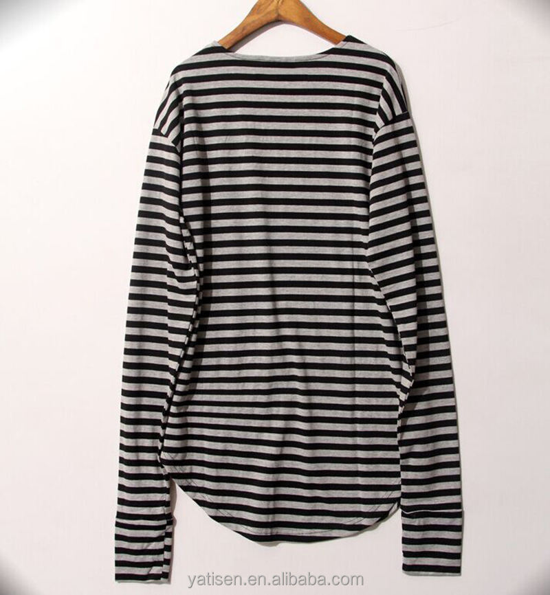 Oversized 100% cotton Tall tee for man wholesale striped full sleeves men's tall tee with Round hem OEM