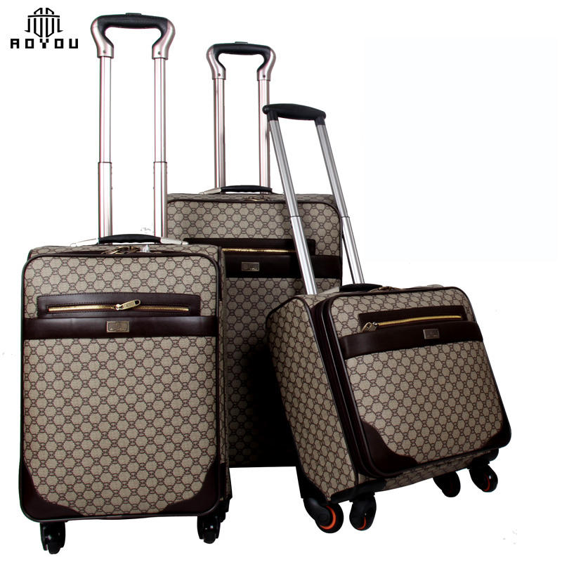 3pcs 16/20/24 inch luggage set China Factory PU Leather Spinner 4 Wheels 3pcs Set Luggage Suitcase