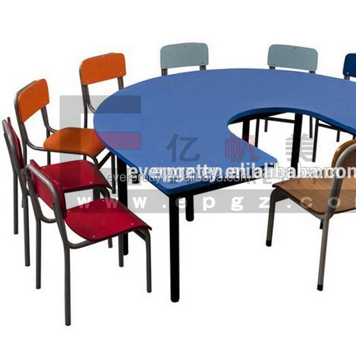 Kindergarten U shaped kids table sets, wooden KG tables and chairs, KD children tables with 9 seats
