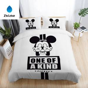 3D Cartoon Stijl Mickey Mouse Minnie Gedrukt Drie Stukken Beddengoed Set
