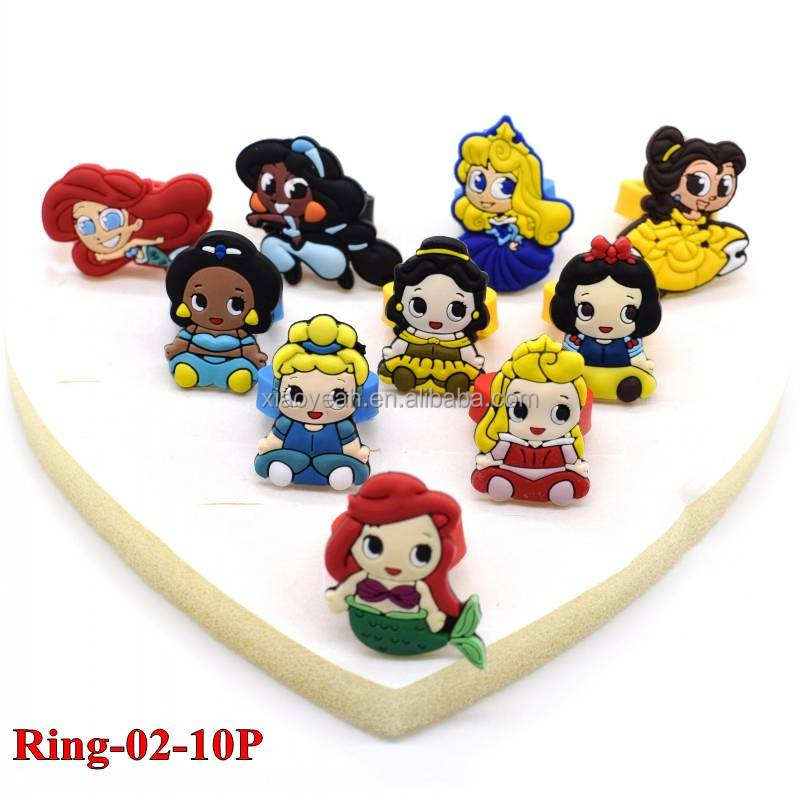 Cheap Custom Silicone Rubber Kids Cartoon Princess/KT/Pony Finger Rings 10pcs/set