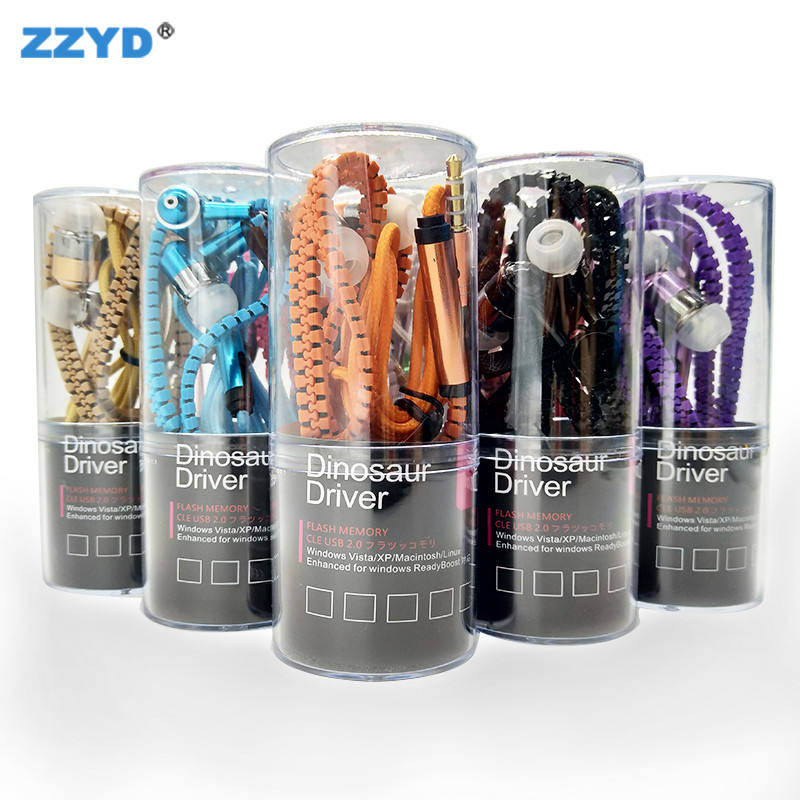 ZZYD Zipper Headset 3.5mm Sound Cancelling Headphones Jack Bass Earphone With Mic Cheap In Ear Earphone Wholesale