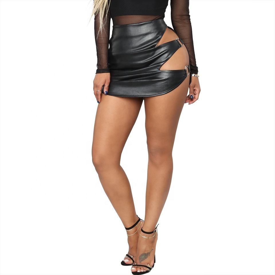 B31458A 2018 Europa frühling mode sexy cut out kurze PU mini rock