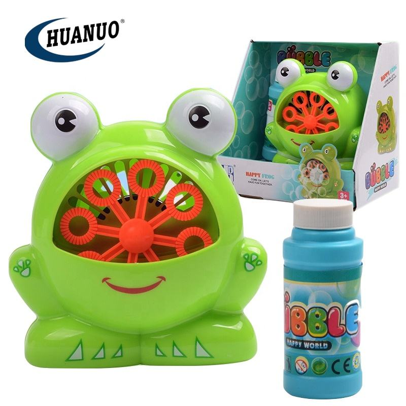 Kids outdoor activity toy electric cartoon frog bubble machine toys