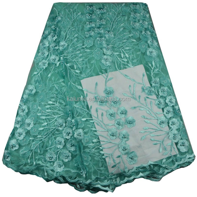 Afrika Kain Dengan Mutiara Bridal Dress Tulle French Lace Kain Tekstil Teal 677