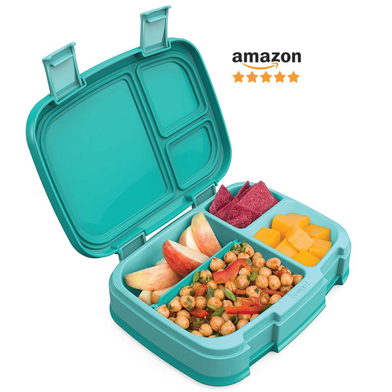 Bent go Fresh New Improved Leak-Proof Versatile 4-Compartment Bento-Style Lunch Box Ideal for Portion-Control BPA-Free Food-Safe