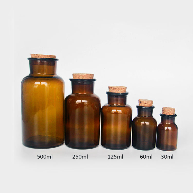 60 ml 125 ml 250 ml 500 ml 1000 ml กว้างปาก Lab Chemical Pill ขวด Cork