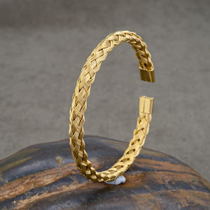 Braided Bracelet Dubai Jewelry 24K Gold Cuff Bangle Custom Woven Bracelet For Men Design