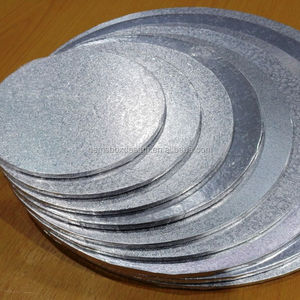 8 x 8 inch diameter thick sturdy circular silver foiled covered Cake Drum cake board
