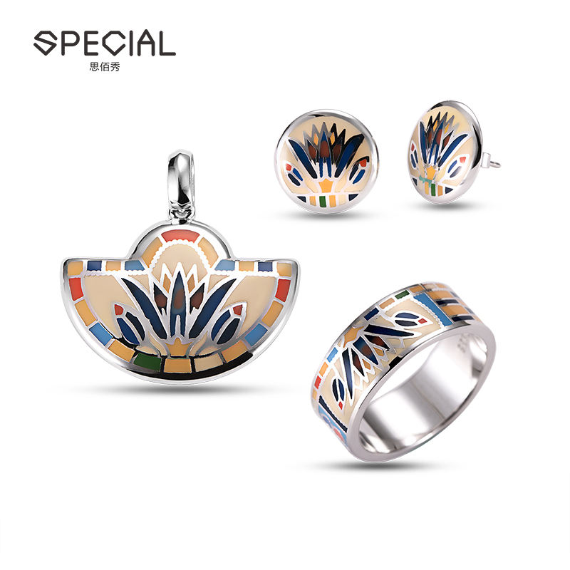 Special Trendy Unique Jewelry Set Wholesale Enamel 925 Silver