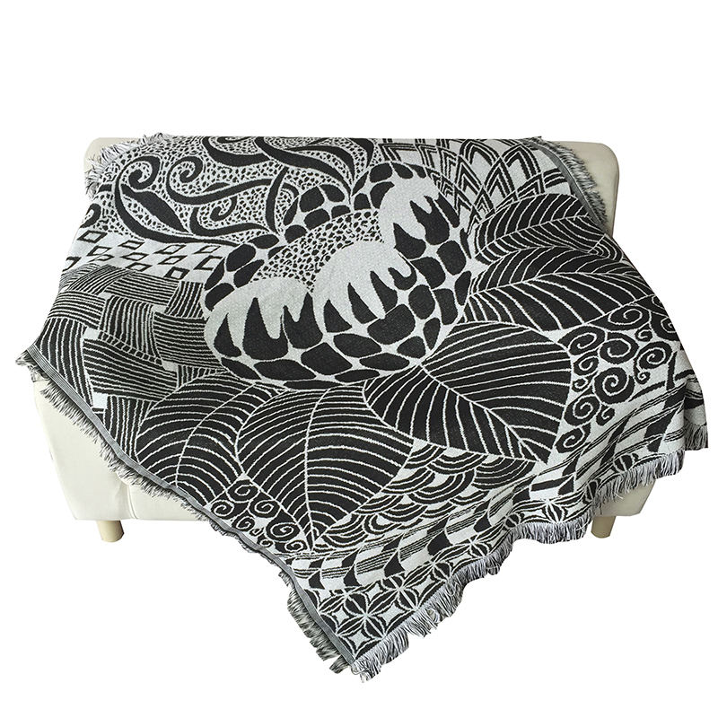 100% cotton knitted thick throw jacquard woven blankets