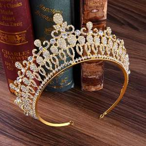 Clear Crystal Luxury Hair Jewelry Round Handmade Rhinestones Wedding Tiaras And Crowns