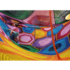 Commercial Used Kids Rainbow Crochet Rope Climbing Nets For Indoor Playground