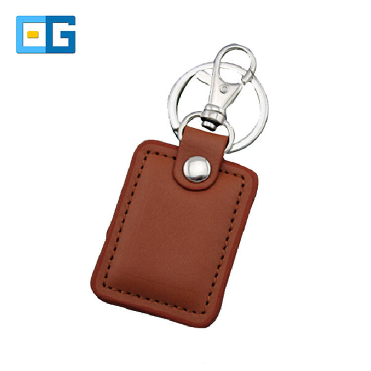 Good Quality Rfid 13.56Mhz Proximity Embossed Leather Keychain