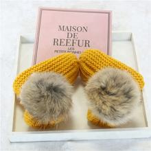 Wholesale Knit Crochet Baby Shoes Fashion Toddle  children Shoes With Real Fur Decoration