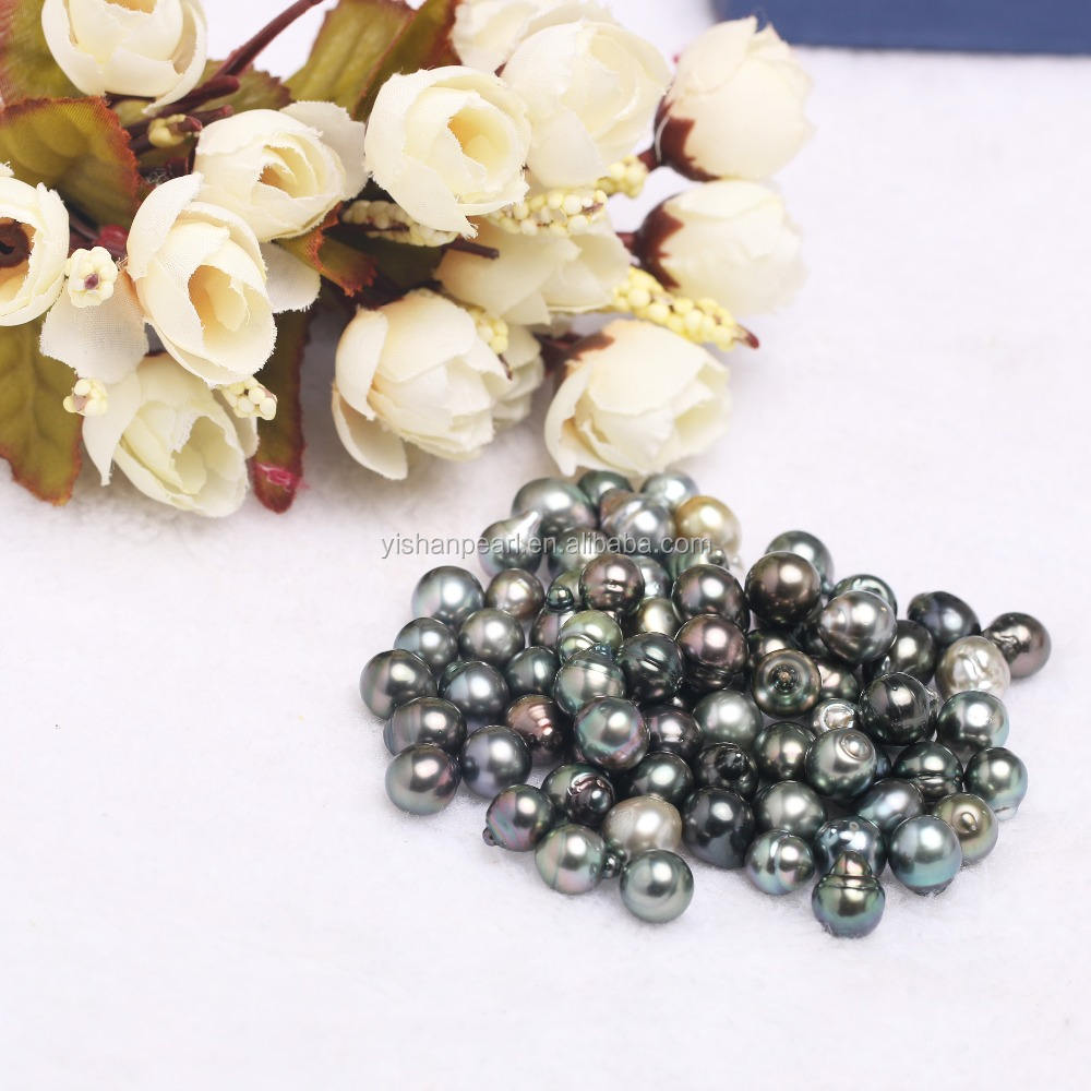 Wholesale 9-10mm Loose Natural Black Grey Baroque Tahitian Pearl Seawater Pearl