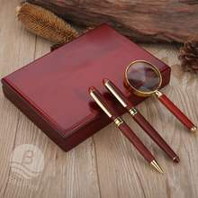 Luxury gift set rosewood pen with kit and magnifier