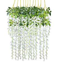 Garland Silk Flowers String Artificial Wisteria  Hanging Wisteria Wedding Decoration