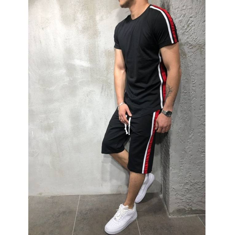 Mens Sports T-shirt Set Striped Patchwork Gym Shorts and Short Sleeve T - Shirts