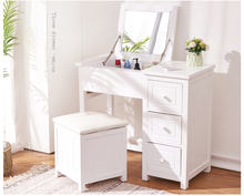 white Modern Bedroom Wood Dressing Mirror Makeup Vanity Table