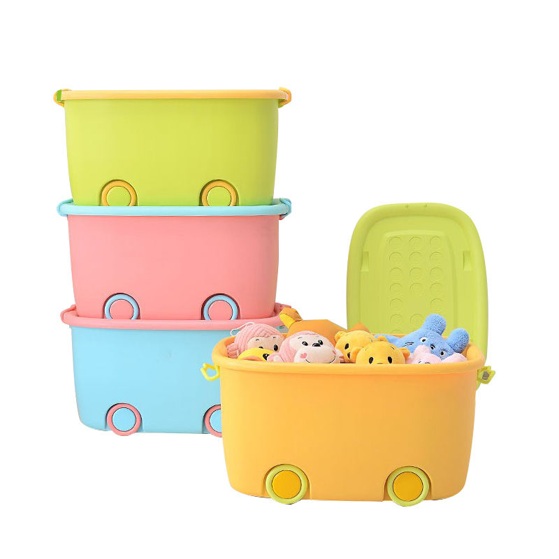 Customized design Kid toy and clothes storage plastic box with wheels toy storage box for kids