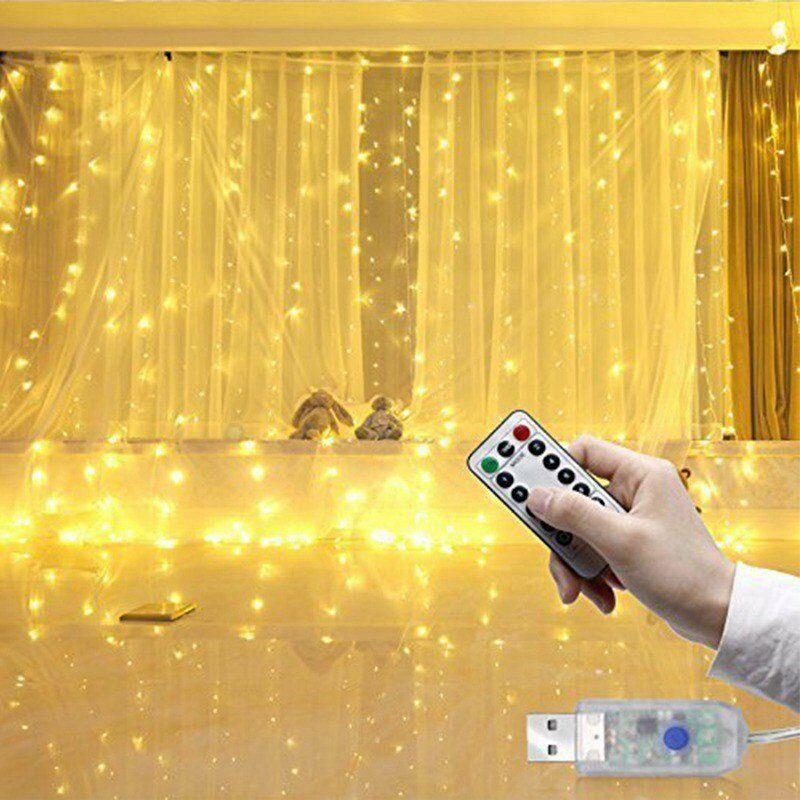 300 LEDs Window Curtain Fairy Lights Copper Wire String Lights USB Remote Control 8 Modes Hanging Lights