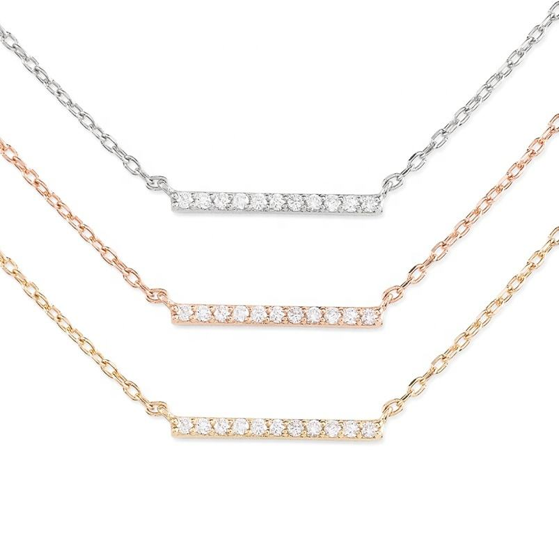 Delicate 14k gold jewellery pave diamond bar necklace wholesale