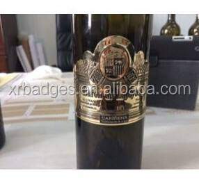 3D embossed soft tin/pewter/stannum metal wine label,metal bottle label,metal wine sticker