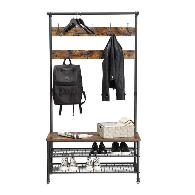 VASAGLE Pipe Style Large Industrial Coat Rack with Storage Bench, Hat and Coat Stand with 9 Hooks