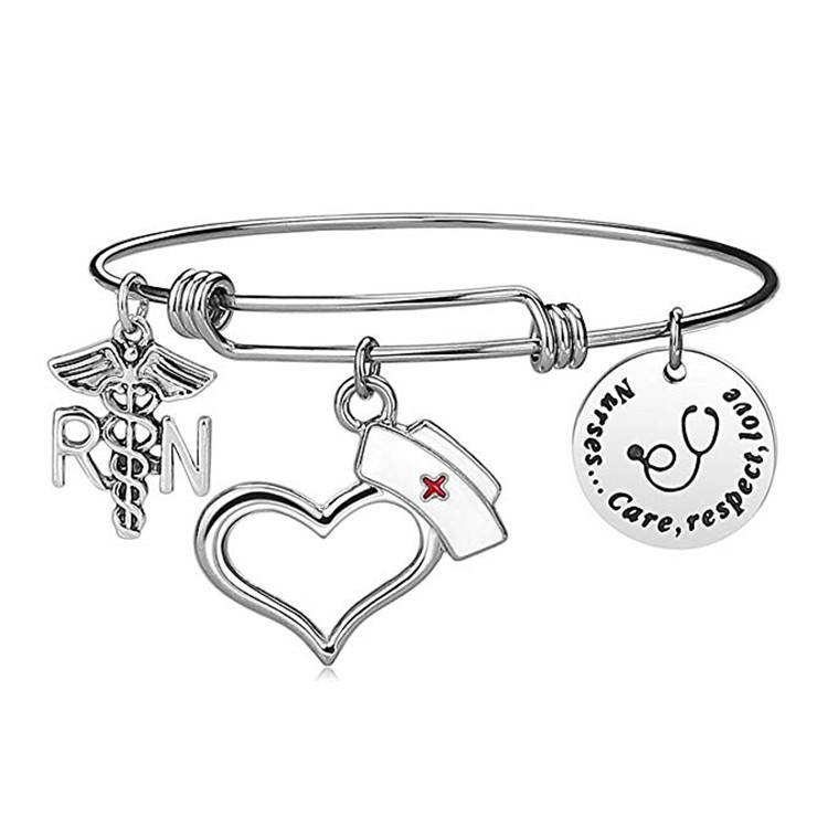 Wholesale Stainless Steel Jewelry Adjustable Bangles Customized Logo Nurse Charm Wired Bracelet