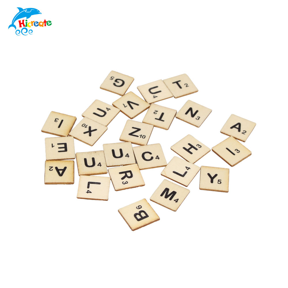 custom 100 pcs polybag wood game tiles alphabetic letters for crafts