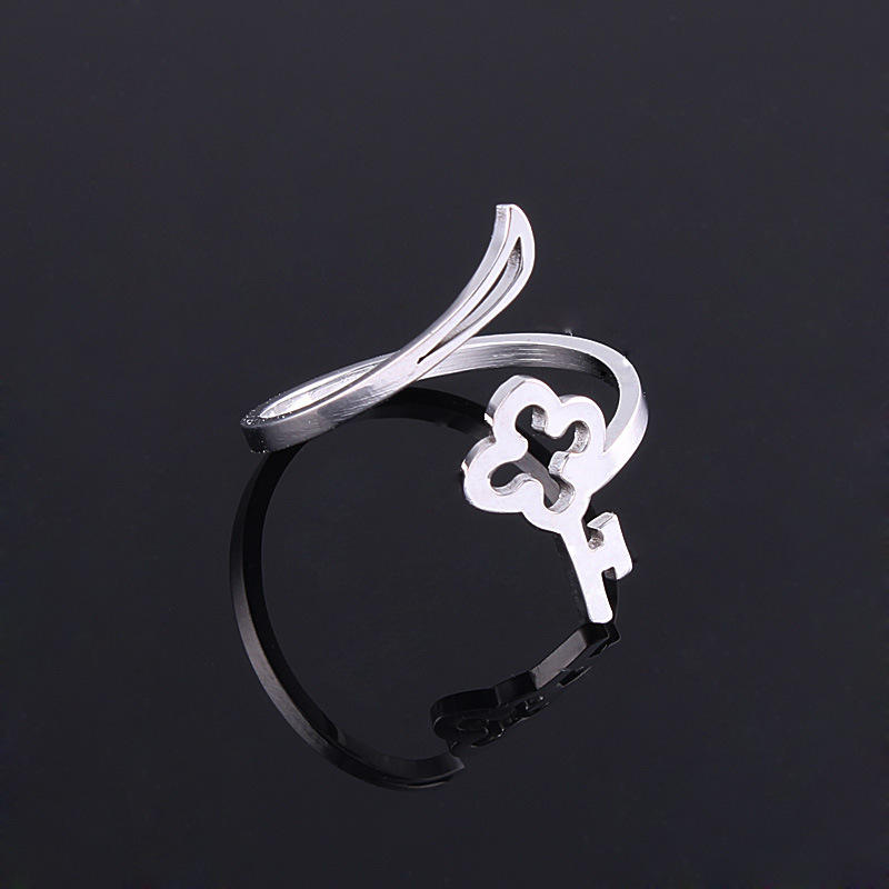 Hot mode charm kunci bentuk stainless steel rings perhiasan hadiah cincin band diupgrade